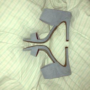 Sky blue strappy heels